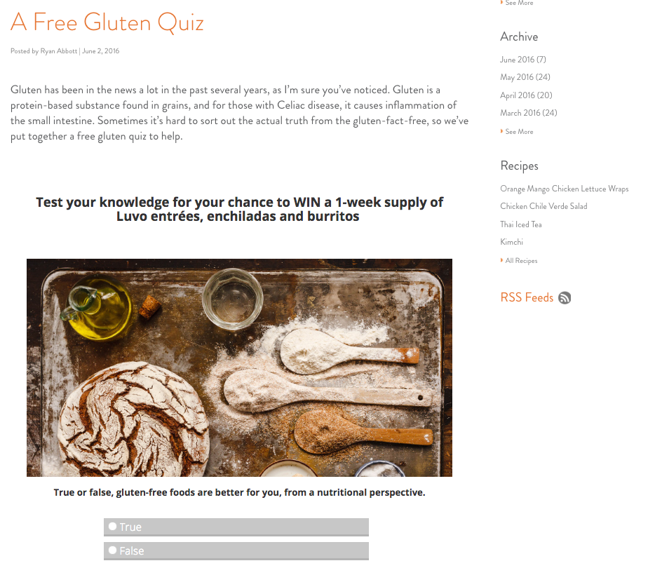 Gluten Free Quiz Embedded on Luvo Inc Blog by Tradable Bits