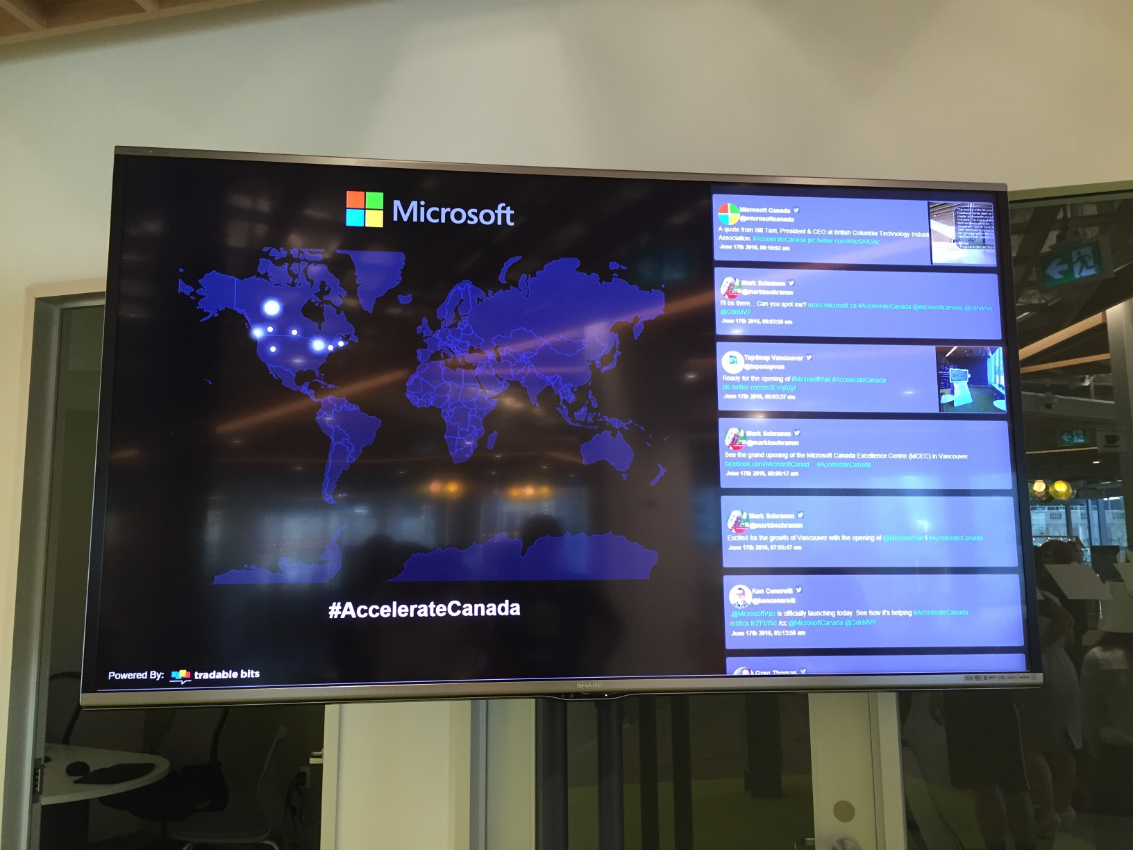 Microsoft Accelerate Canada Social Media Heatmap powered by Tradable Bits Stream