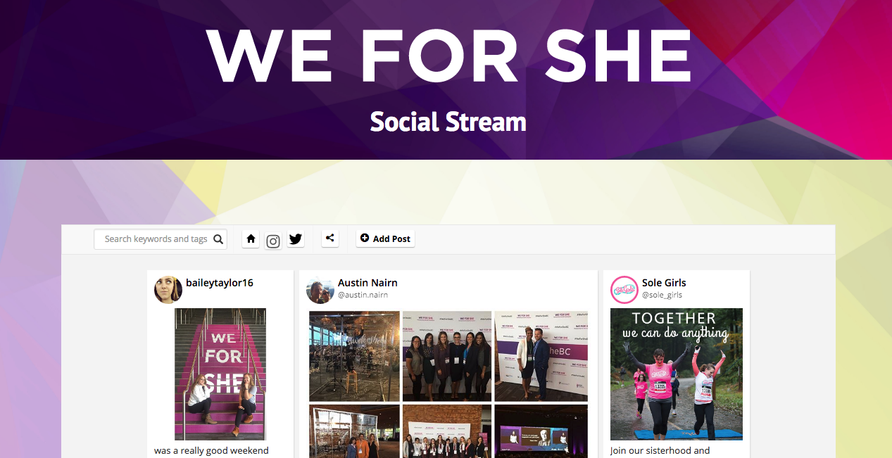 we for she embedded their social posts into their website