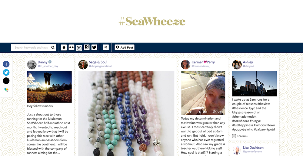 lululemon SeaWheeze social stream by Tradable Bits screenshot