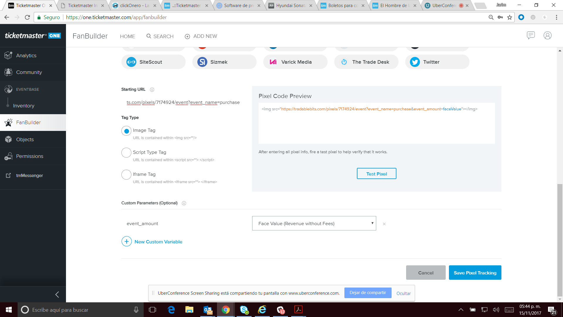 how to setup a sales pixel on ticketmaster