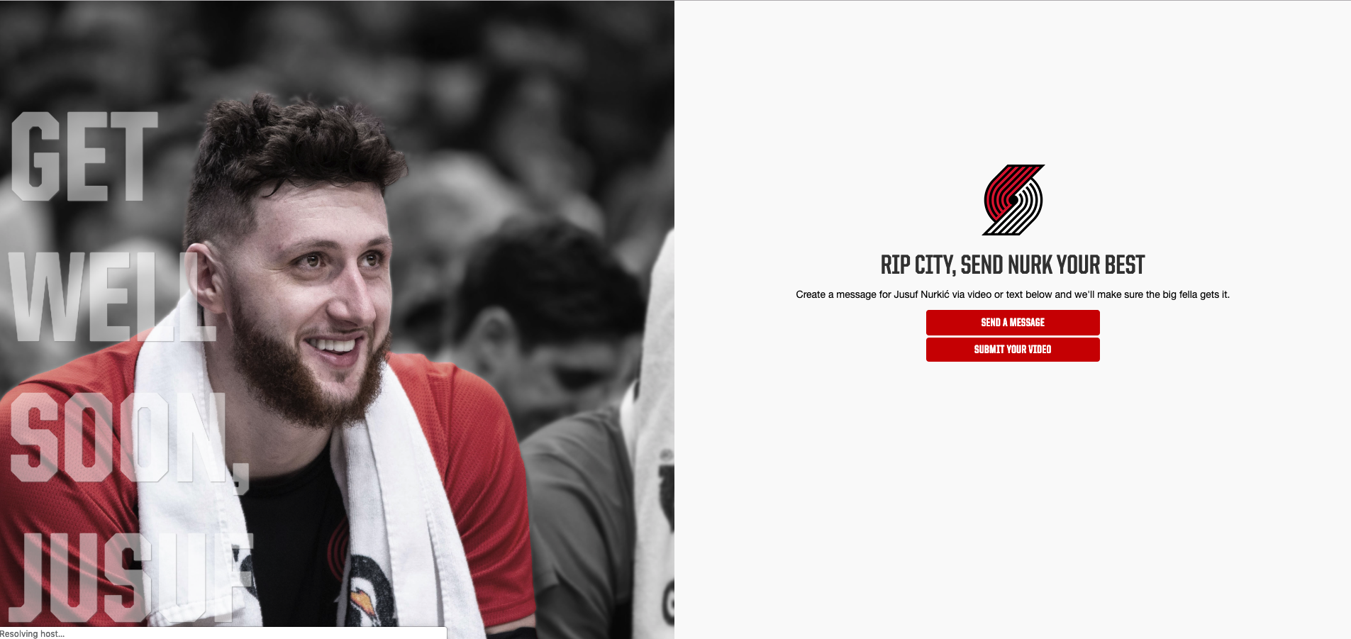 Tradable Bits Get Well Soon Campaign for Portland Trail Blazers